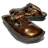 Alegria Womens 37 US 7 Thong Strap Clog Nursing Shoes Alg-126 Bronze Leather
