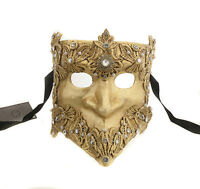 Maschera Di Venezia Bauta Macrame Dorata Autentica Veneziano 270 V9
