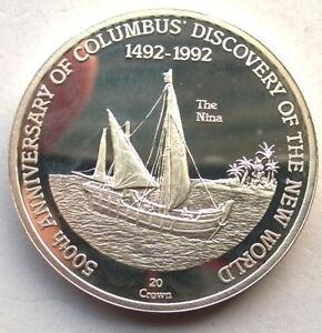 """Turks Caicos 1992 Ship """"Nina"""" 20 Crown 1oz Silver Coin,Proof"""