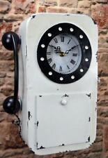 Metall Wanduhr Weiß Retro Telefon Schlüsselkasten mit Uhr 35cm LV5097