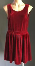 On Trend Very Velvet  GLASSONS Burgundy Keyhole Back Sleeveless Skater Dress 14