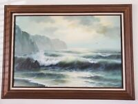 Coastal Sea View Oil Painting On Canvas 24 X 36 Framed Signed MATT THOMAS