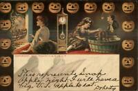 Halloween Romance JOL Border Tower M&N Co 101 S c1910 Postcard