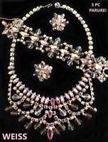 WEISS Vintage Pink Rhinestone & Crystal Necklace Bracelet Earrings Set Parure