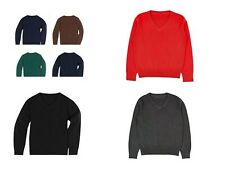 BOYS /GIRLS KIDS V NECK COTTON RICH LONG SLEEVE JUMPER SCHOOL UNIFORM UNISEX