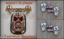 Support de plaque Chrome + 2 paires de clignotants tete de mort skull NEUF