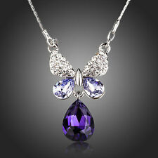 Rhodium Plated Purple Austria Crystals Butterfly Chain Necklace Pendant Jewelry