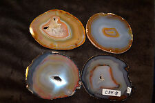 SET OF 4 DRINK MUG COASTERS BRAZIL GEODE THIN SLAB SWIRL COLORS CRYSTALS C54-8