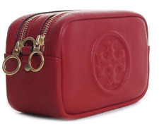 Tory Burch NEW Perry Bombe Mini Red Apple Pebbled Leather Crossbody Zip Bag $248