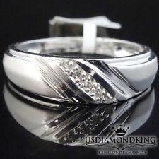 MEN'S 10K 100% WHITE REAL GOLD GENUINE DIAMOND WEDDING ANNIVERSARY RING BAND S11