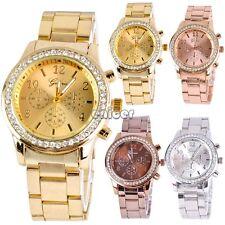 Hombres Mujer Bling Acero inoxidable Correa Cuarzo Reloj Relojes de pulsera