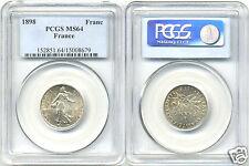 IIIe REPUBLIQUE (1871-1940) 1 FRANC ARGENT SEMEUSE 1898 PCGS MS 64 !!!
