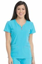Med Couture Air Style 8568 Zip V-Neck Scrub Top in Turquoise, Size XS