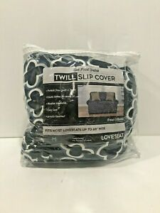 """Printed Twill Loveseat Slipcover 1 Piece Stretch Fits 68"""" Wide Blues & White"""