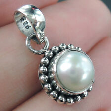 Small WHITE PEARL & 925 Sterling Silver Pendant Jewelry