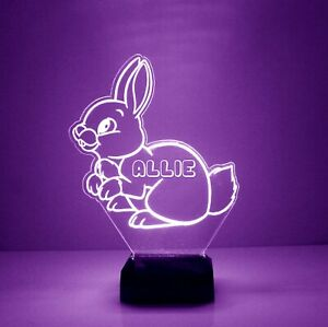Personalized Bunny Night Lamp - FREE Engraved Name - Kids Room LED Night Light
