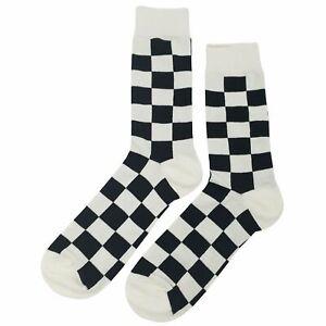 NWT Black White Checker Dress Socks Novelty Men 8-12 Black and White Fun Sockfly