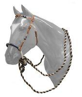 WESTERN HORSE BOSAL BITLESS BRIDLE HEADSTALL W/ REAL HORSEHAIR MECATE REINS