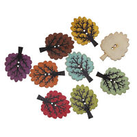 BULK BUY 50 Mixed Coloured Tree Shaped Wooden Buttons 32 x 25mm  FREE P&P