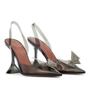 Women Kitten Heels Butterfly Rhinestone Gladiator Pvc Peep Toe Wine Sandals Shoe