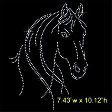 Horse Face Rhinestone Transfer Hotfix Iron on Motif Appliqué in crystal
