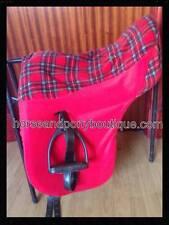 FULL SIZE Royal Stewart Fleece Saddle Cover / Seat Saver, Red tartan saddle cove