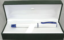 Monteverde Impressa Pearl Silver & Blue Trim Fountain Pen - Medium Nib - New