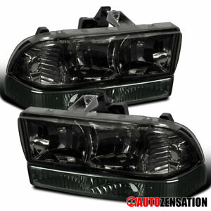 For 1998-2004 Chevy S10 Pickup Blazer Smoke Headlights+Bumper Corner Lamps Pair