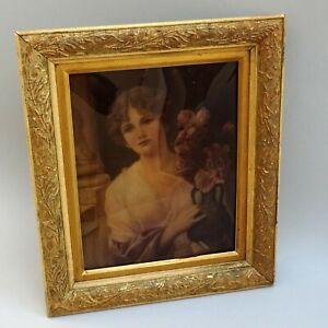 19thC Crystoleum ~ Lady Holding Roses ~ A. SEIFERT ~ Framed Portrait / Antique