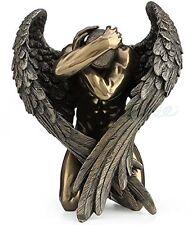 Winged Nude Male Angel Holding Head Kneeling Statue Sculpture Figurine