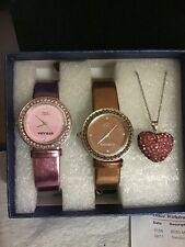 2 Strada Watches   Reversable  Crystal Heart Necklace  Pink And Burgandy