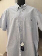 Ralph Lauren Mens Short Sleeve Oxford Striped Shirt Blue White Size XXL NWT