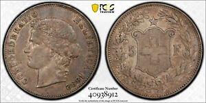 1892 B Switzerland 5 Franc. PCGS AU50. All Original About Uncirculated Beauty