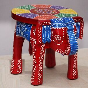 Indian Handmade Wooden Elephant Shape RED Multi Decor Side Table Statue Table