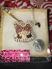 Betsey Johnson Necklace BUNNY RABBIT Pink Pearl Girl Bunny Head CRYSTALS Classy