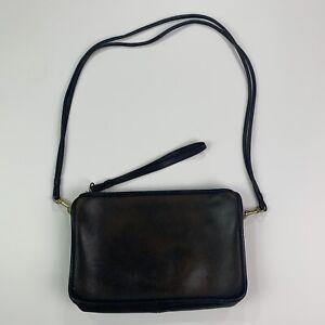 Vintage COACH Dark Brown/Black Leather Brass Buckle Shoulder Bag Made In NYC