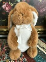 "Dakin Vintage 1991 Standing Bunny Rabbit Stuffed Toy 11"" Easter Cotton Ribbon"