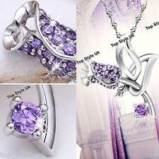 Sale Xmas Jewellery Unique Purple Flower Silver Necklace Girlfriend Women F1