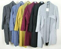 New Ladies Boiled Wool Mix Long Waterfall Felt Duster Jacket Coat Plus Size