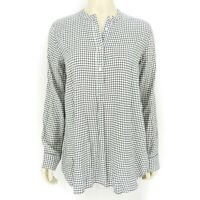Madewell Women's White Black Checkered Long Sleeve Button Down Blouse Top SMALL