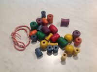 Vintage Wood Wooden String Beads 22 Child Kids Toy Assorted Colors Shapes Sizes