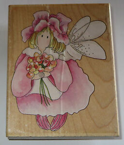"""Camellia Flower Fairy Rubber Stamp Wood Mounted 3.5"""" High Bouquet Petals Hat"""