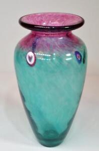 """KEN & INGRID HANSON Signed Hand Blown Green Purple Art Glass Murine 7""""h Vase"""