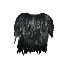 Margiela Inspired Black and Metallic Green Peacock Feather Cape Jacket Size M