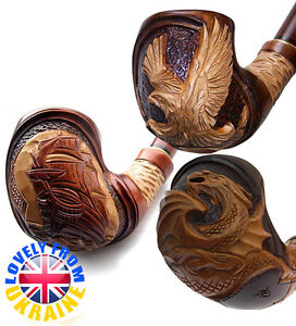 Difficult Carving Wooden HAND CARVED Handmade Smoking Pipe Pipes For 9 mm filter