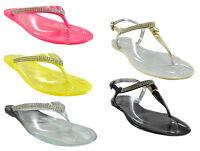 Ladies Womens Flat Jelly Diamante Sandals Toe Post Flip Flops Slipper Ankle Size