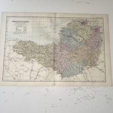 c1889 Somersetshire Somerset British Isles Map Bacon Antique Vgc