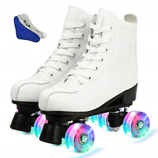 New listing Tmore Women's Derby Roller Skates Light Up Wheels, Double Row Roller Skates PU