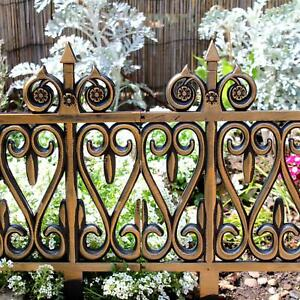 Border Fence Set 4pcs Bronze Effect Lawn Edge Fencing Garden Outdoor Decoration