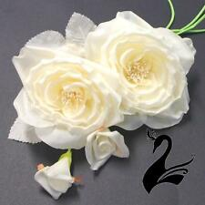 Flower Pure Silk Double Roses & Buds - Ivory - Millinery Hats Fascinators